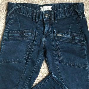 Free People Indigo Blue Moto Zip Skinny Jeans W27